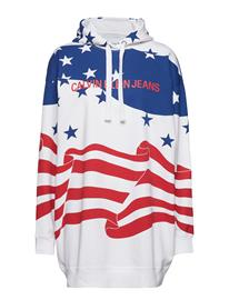 Calvin Klein Jeans Flag Hoodie Dress Valkoinen