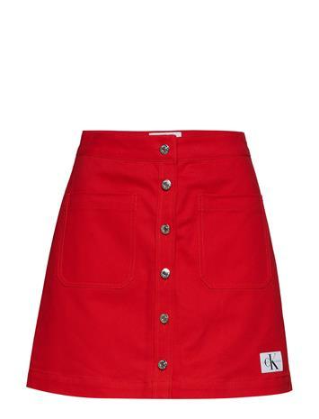 Calvin Klein Jeans Cotton Twill Mini Skirt Punainen