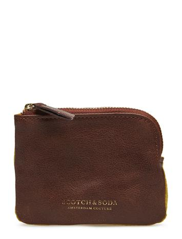 Scotch & Soda Classic Leather And Suede Coin Wallet Ruskea