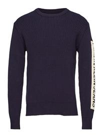 Calvin Klein Jeans Ribbed Sleeve Patch Sweater Sininen