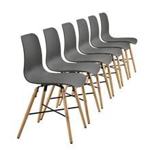 [en.casa]® Design tuolit - 6 kpl muovi 80 x 44,5 x 50 cm harmaa