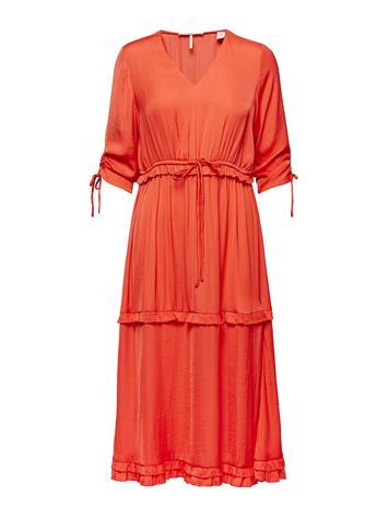 Scotch & Soda Midi Length Dress With V-Neck And Ruffles Oranssi