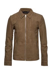 Lindbergh Suede Leather Jacket Ruskea