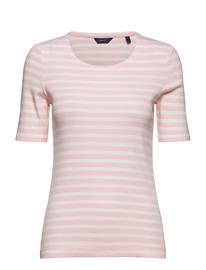 GANT Striped 1x1 Rib Ss T-Shirt Vaaleanpunainen