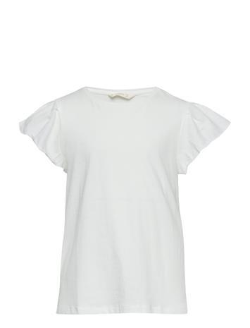 Mango Kids Ruffled Sleeve T-Shirt Valkoinen