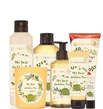 Yves Rocher Setti - Golden Tea (Suihkugeeli, Käsisaippua, Käsivoide, Huulivoide, Vartaloemulsio, Candle) + Red Apple (Kuoriva suihkugeeli)