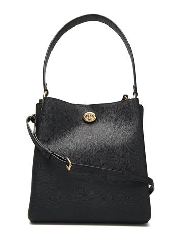 Coach Polished Pebble Leather Charlie Bucket Musta