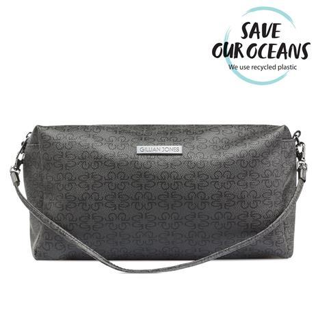 Gillian Jones 2-Compartments Cosmetic Bag w. GJ Signature - Black