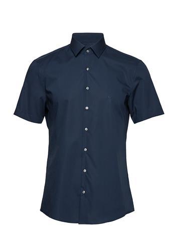 Calvin Klein Poplin Stretch Slim S/S Shirt Sininen