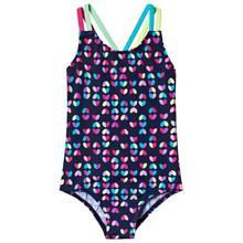 Navy Multi Heart Print Swimsuit11-12 years