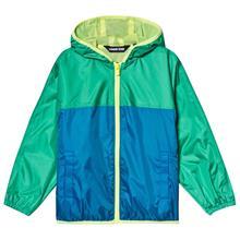 Blue and Green Colour Block Waterproof Hooded Rain Jacket5-6 years
