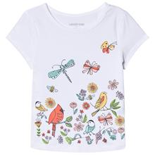 White Birds and Butterfly Print Tee4 years