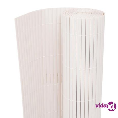 vidaXL Kaksipuolinen Puutarha-aita 90x500 cm Valkoinen