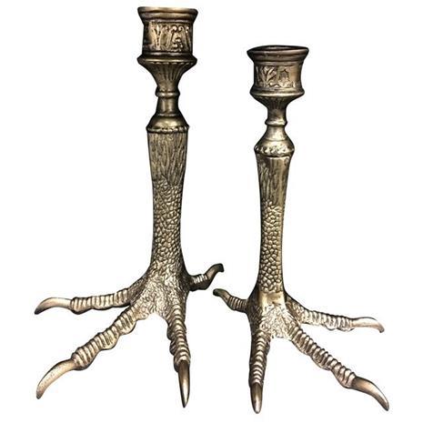Vanilla Fly Bird feet Candlestick 2-set, Gold