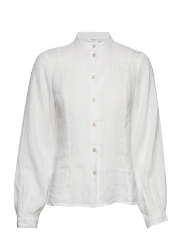 Mango Button Linen-Blend Blouse Valkoinen