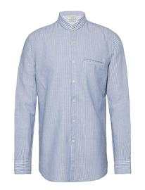 Mango Man Regular-Fit Cotton Linen-Blend Shirt Sininen