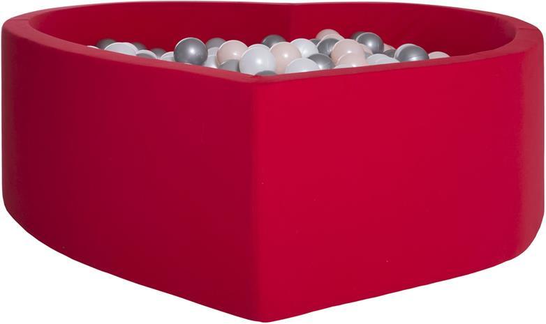 KIDKII Sydämenmuotoinen Pallomeri + 200 Palloa, Punainen