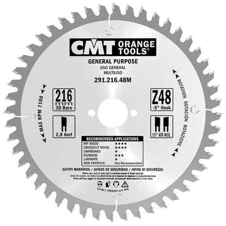 Katkaisuterä puulle CMT 291.170.24M; d=170 mm