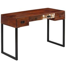vidaXL Kirjoituspöytä kiinteä seesampuu ja aito nahka 117x50x76 cm, Muut huonekalut