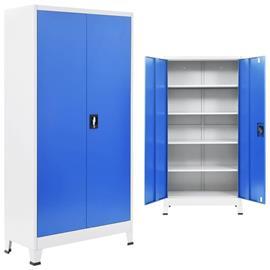 vidaXL Toimistokaappi metalli 90x40x180 cm harmaa ja sininen, Kalusteet, kuljetus- ja säilytysjärjestelmät