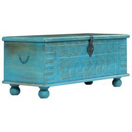 vidaXL Säilytysarkku kiinteä mangopuu 100x40x41 cm sininen, Laatikostot, hyllyt, kaapit, TV-tasot yms.