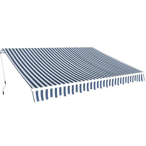 vidaXL Taitettava käsikäyttöinen markiisi 350 cm sininen/valkoinen, Muut koneet ja työkalut