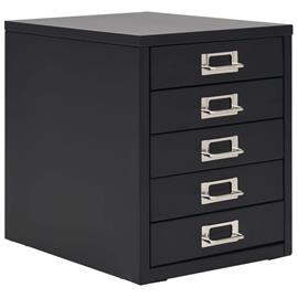 vidaXL Arkistokaappi 5 vetolaatikolla metalli 28x35x35 cm musta, Kalusteet, kuljetus- ja säilytysjärjestelmät