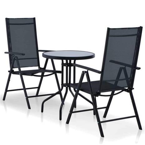 vidaXL Ulkotilan bistrokalusteryhmä 3 osaa alumiini ja Textilene musta, Muut huonekalut
