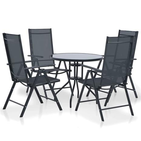 vidaXL Ulkoruokailuryhmä 5-osaa Alumiini ja Textilene musta, Muut huonekalut