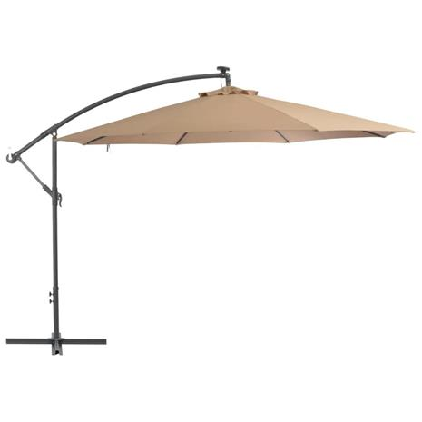 vidaXL Riippuva aurinkovarjo alumiinipylväällä 350 cm ruskeanharmaa, Kalustus- ja somistustarvikkeet