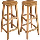 vidaXL Baarijakkarat 2 kpl kiinteä akaasiapuu 34x34x76 cm, Ruokapöydät ja -tuolit