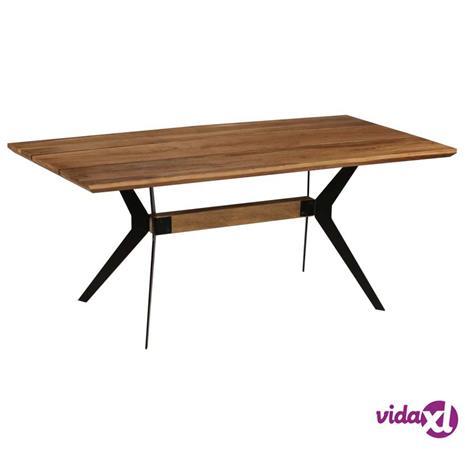 vidaXL Ruokapöytä kiinteä akaasiapuu ja teräs 180x90x76 cm, Ruokapöydät ja -tuolit