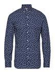 Mango Man Regular-Fit Printed Cotton Shirt Sininen