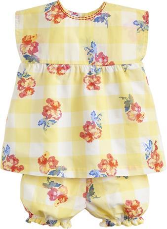 Tom Joule Toppi & Shortsit, Yellow Gingham Floral 18-24 kk