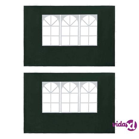 vidaXL Juhlateltan ikkunalliset sivuseinät 2 kpl PE vihreä