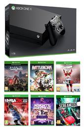 Xbox One X + 6 peliä, pelikonsoli