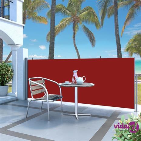 vidaXL Sisäänvedettävä sivumarkiisi 140 x 300 cm punainen