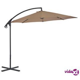 vidaXL Riippuva aurinkovarjo teräspylväällä 300 cm ruskeanharmaa