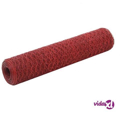 vidaXL Metalliverkko PVC-pinnoitettu teräs 25x0,75 m punainen