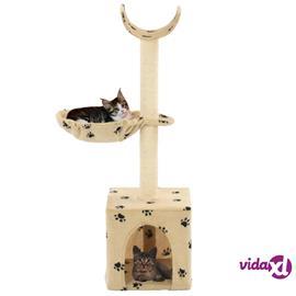 vidaXL Kissan raapimispuu sisal-pylväillä 105 cm tassunjäljet beige