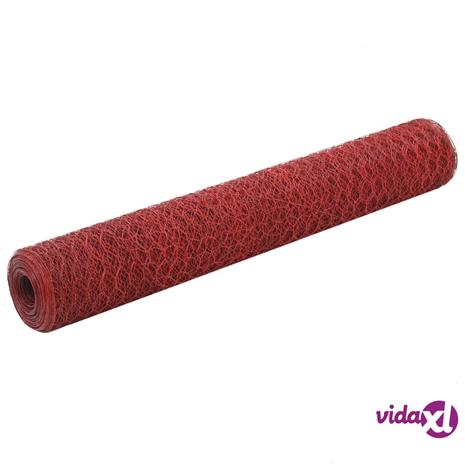 vidaXL Metalliverkko PVC-pinnoitettu teräs kuusikulmio 25x1 m punainen