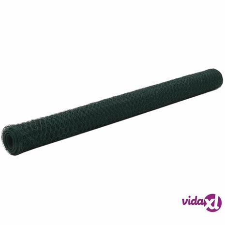 vidaXL Metalliverkko PVC-pinnoitettu teräs kuusikulmio 25x1,5 m vihreä