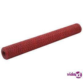 vidaXL Metalliverkko PVC-pinnoitettu teräs 25x1,2 m punainen