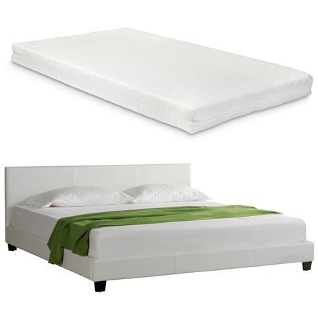 Corium® Tyylikäs verhoiltu sänky PU tekonahka 210cm x 209cm valkoinen