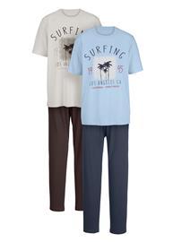 """G Gregory"""" """"Lyhythihainen pyjama 1x ecru/ruskea, 1x vaaleansininen/laivastonsininen"""