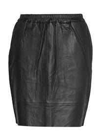 COSTER COPENHAGEN Leather Skirt W. Elastic In Waist Lyhyt Hame Musta COSTER COPENHAGEN BLACK