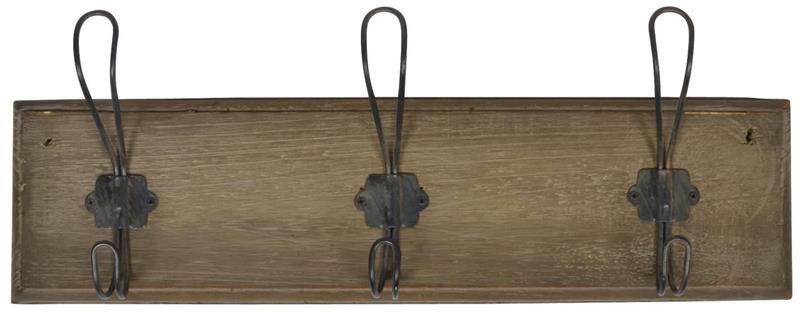 IB Laursen Naulakko Kolmella Koukulla Puu/Metalli 45 x 16 cm Ruskea