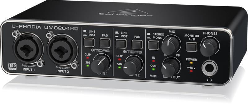 Behringer U-Phoria UMC204HD, USB-äänikortti