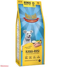 Hau-Hau Champion Kana-riisi 15+2 kg täysravinto