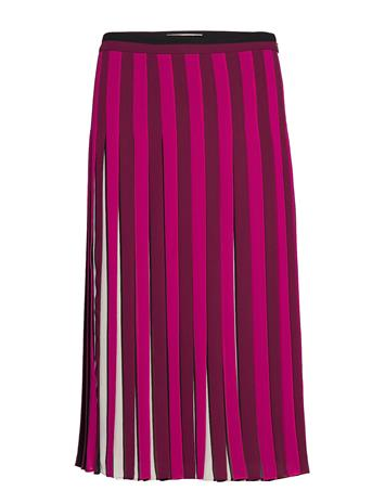 MICHAEL KORS Pleated Stripe Skirt Polvipituinen Hame Vaaleanpunainen MICHAEL KORS BONE/GARNET